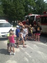 Each year the Hollis fire department comes to the daycare and let's the children explore the fire truck and ambulance. They also dress up and show the kids what to do in case of a real fire. We have monthly fire drills.