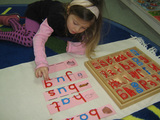 Learning to make words with the movable alphabet in the primary (preschool) classroom.