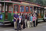 Students and Staff with cable car in San Francisco.