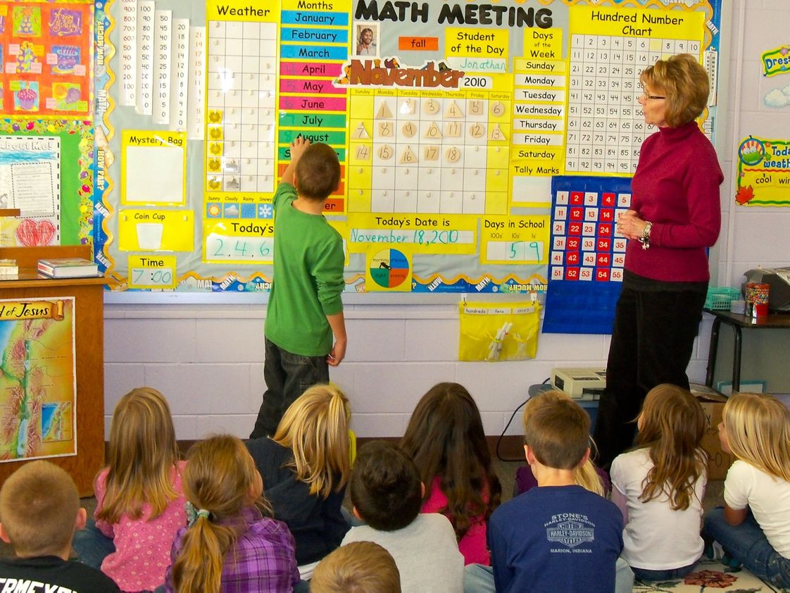 Christ Lutheran School Photo - Student and Mrs. Wasson work through a math lesson together.