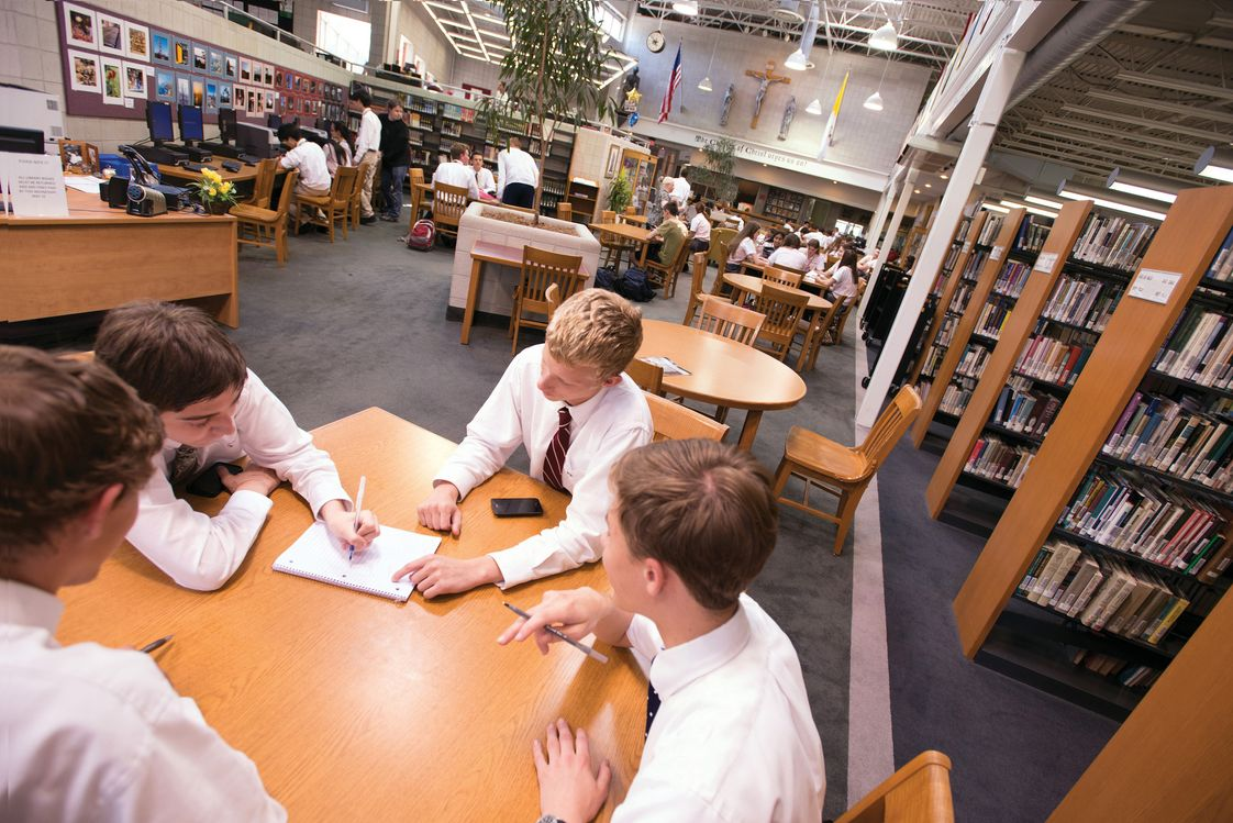 Bishop Eustace Prep School Photo - Students working in our Library/Resource Center.