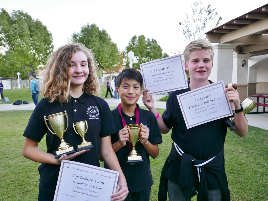 Foothill Country Day School Photo - About half of our students choose to stay after school to participate in a wide variety of activities. One example is our award-winning Debate Team. The team competes regularly all over Southern California and in 2018, shared the title of National Champions for the Middle School Public Debate Program.
