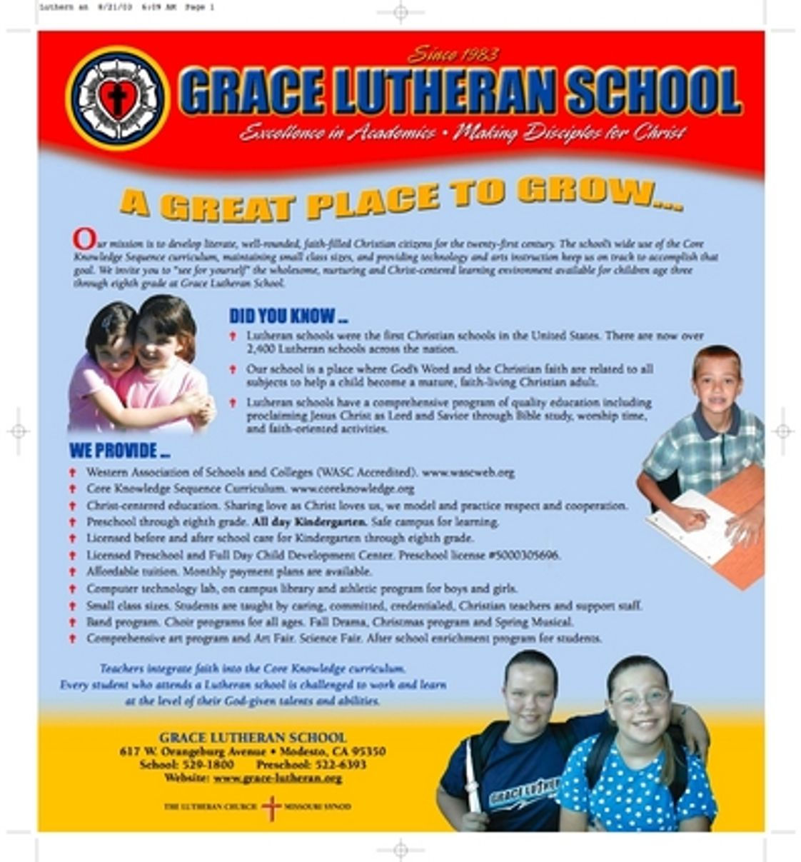 Grace Lutheran School Photo #1 - A whole page of details about the reasons GLS is the school to trust for your child's Christian education.