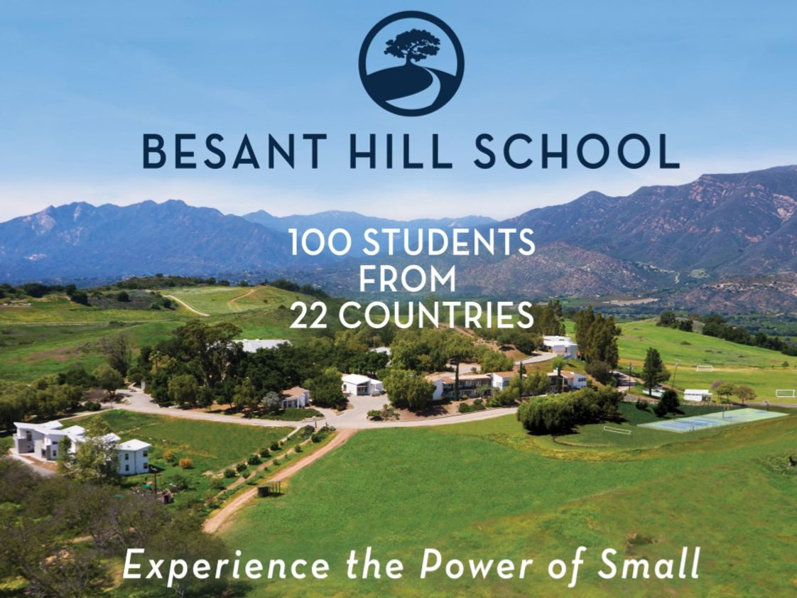 Besant Hill School Photo - Besant Hill School is located in the Ojai Valley, on 500 acres of private land with beautiful vistas in every direction. Facilities include four dormitories, outdoor sports facilities including a new aquatic center, indoor theater, atelier, and classrooms nestled along winding paths and oak trees. We also have an eight acre organic farm.