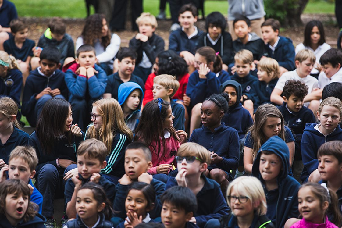 "Hillbrook School Photo #1 - Our students, staff, and faculty gather in the amphitheater weekly during ""Flag"" to share announcements and jokes!"