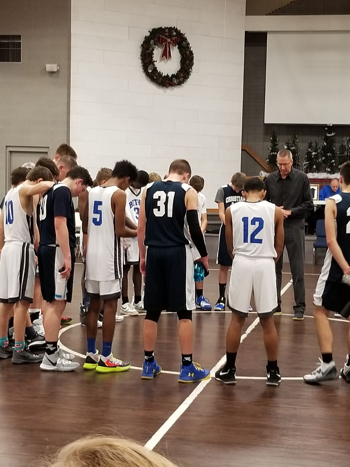 Bethel Christian School Photo - BCS Basketball before a home game