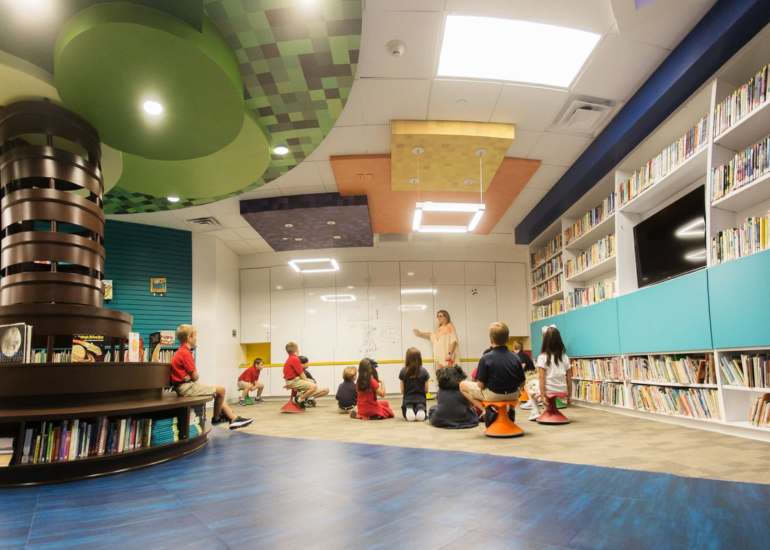 All Saints Episcopal School Photo - Th Collaboratory is a high-tech, adaptive learning space with modular furniture, bright colors, a reading tree and reading nooks where students feel comfortable and are engaged to learn.