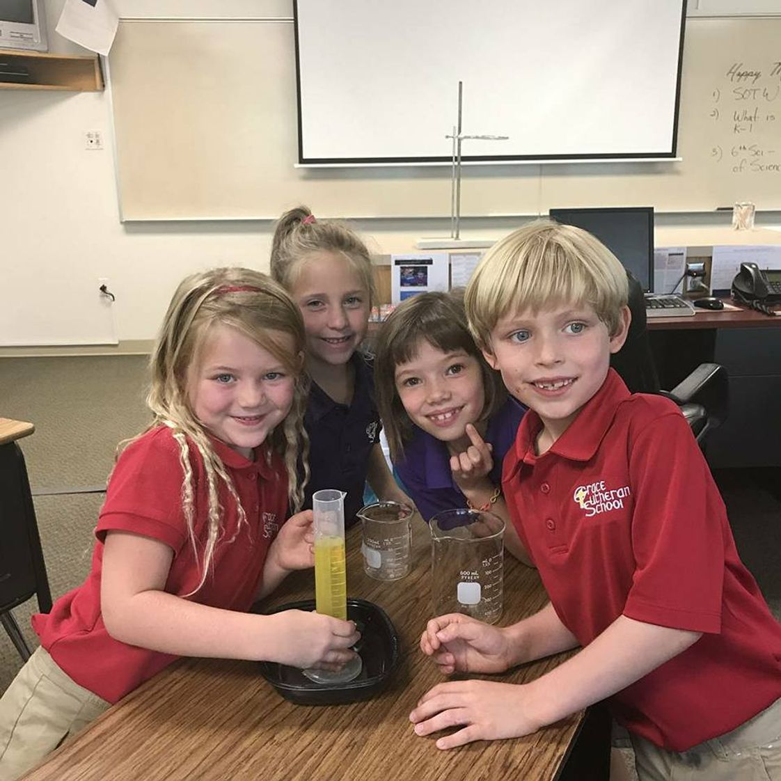 Grace Lutheran School Photo - Second Grade in Science Lab. Understanding the world around us is an important part of our science curriculum.