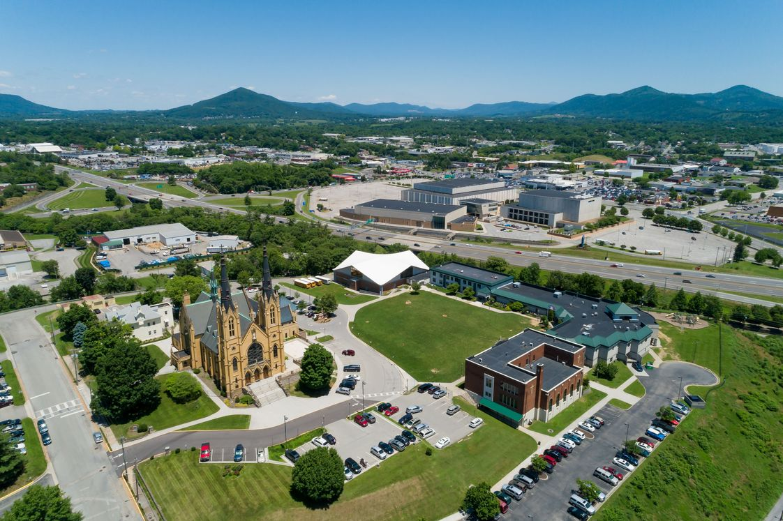 Roanoke Catholic School Photo - A look over the Roanoke Catholic School campus and the surrounding area. Roanoke is located in the heart of the Blue Ridge Mountains and has the perfect balance between city and nature.