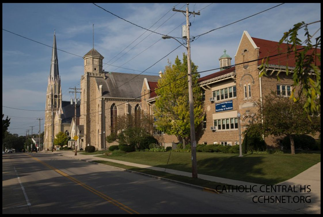 Catholic Central High School Photo - Catholic Central's Main High School Campus from the street. Located in Burlington, Wisconsin, CCHS offers a fine selection of college prep classes to help prepare students for the next step in their education.