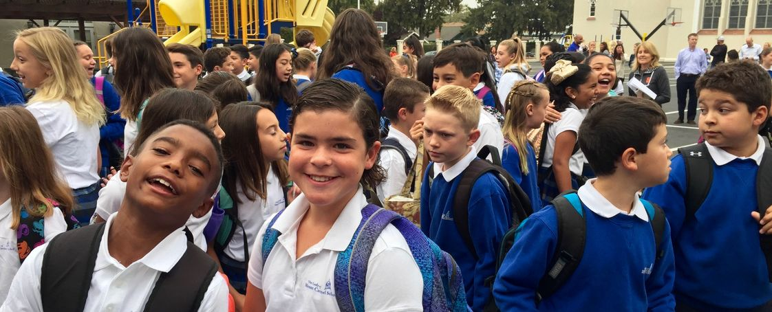 Our Lady Of Mount Carmel School Photo - Happy students on the first day of school, August 2017, at Our Lady of Mount Carmel School in Redwood City.
