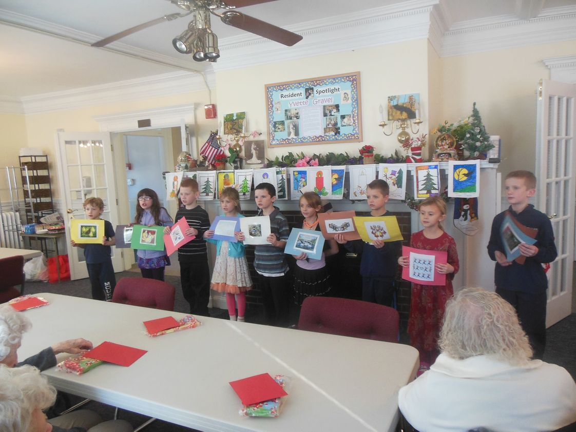 Mount Zion Christian Schools Photo - 2nd and 3rd grade class singing carols to their pen pals at the nursing home