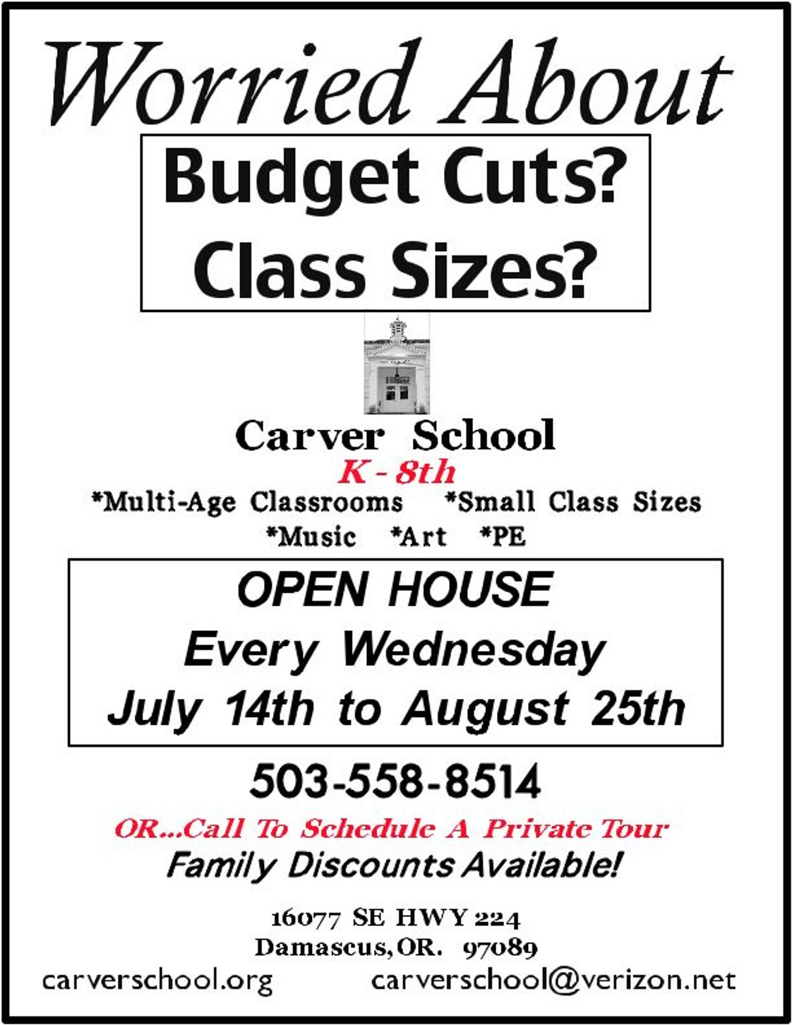 Carver School Photo #1 - Budget Cuts? Busing? Large Class Sizes?