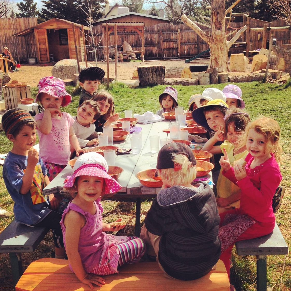Boulder Waldorf Kindergarten Photo #1 - Enjoying our morning snack on the playground!