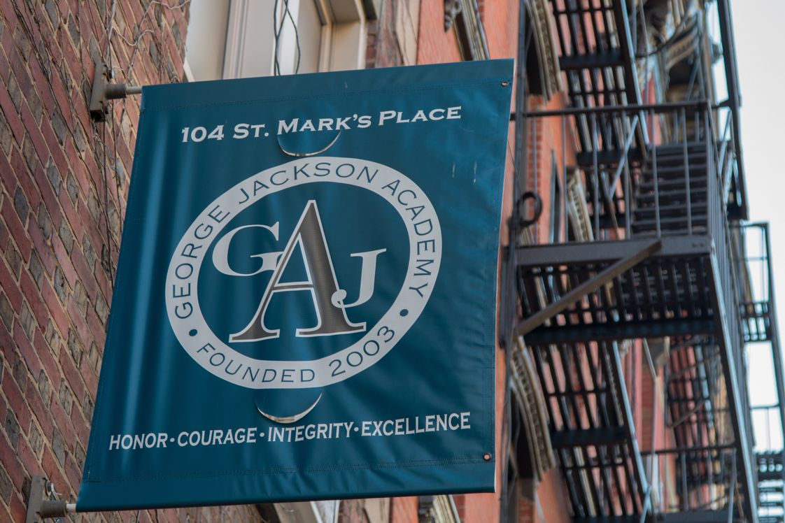 George Jackson Academy Photo - George Jackson Academy, an all boys school for grades 6-8, is located at 104 St. Marks Place (between 1st Ave. & Ave. A) New York, NY 10009. Accessible via the F, L, R, W and 6 trains.
