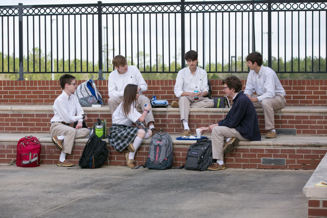 St. Patrick Catholic High School Photo - Students enjoy lunch in the SPCHS courtyard