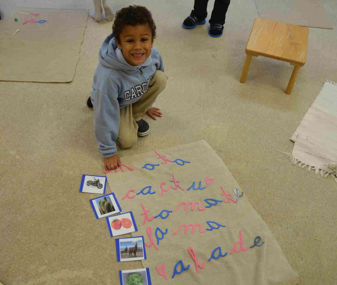 International Montessori School Photo #1 - A 5 year old IMS student using the moveable alphabet to spell the words illustrated on cards.