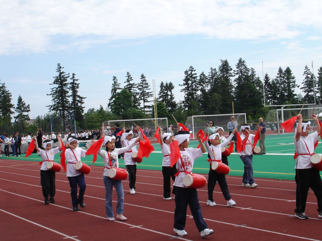 Bel-Red Bilingual Academy Photo #1 - 2007 Olympic Game at Redmond High School (Our school drum dancing)