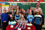 2nd grade students celebrating Dr. Seuss' birthday and Read Across America Day