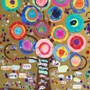 "Corpus Christi Elementary School Photo #3 - Inspired by Gustav Klimt's ""Tree of Life"" (1905), each kindergartner created a concentric circle out of construction paper and decorated it according to their own style. They then glued all the circles onto a tree painted on a gold background. An auction item for our 2016 school fundraiser."