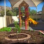 Montessori Educare Academy Photo - Back yard garden and play structure.