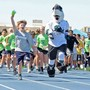 "Valley Christian Junior High School Photo #9 - Sharkie from the SJ Sharks joins VCJH students for their annual ""Fun Run""!"