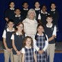 Pope John Xxiii School Photo - Principal Gail Hulse with Pope John XXIII School students